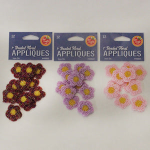"1"" Beaded Floral Appliques"
