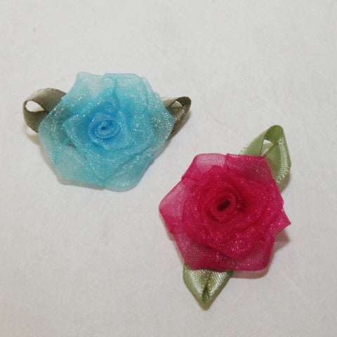 "Organza 1-1/2"" Roses (2 colors)"