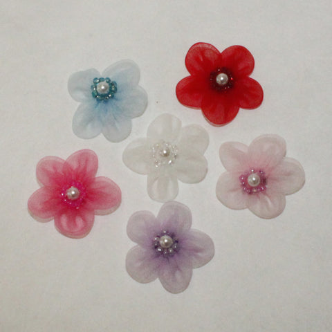 "Organza 1-1/2"" flower w/pearl.  (6 colors)"