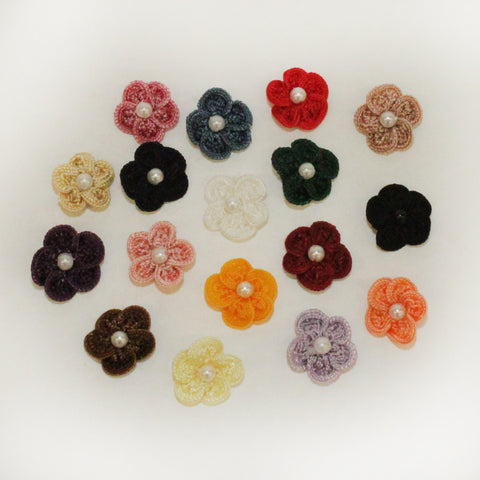 "Rayon 3/4"" Loop Flower w/Pearl (17 colors)"