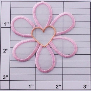 flower w/ heart center applique 8 colors