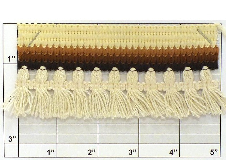 "Tassel Fringe w/ Braid Top 2-3/8"" (Per Yard)<br>Natural/Oyster/Tan/Brown/Seal Brown"