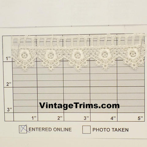 "Floral Swag & Ladder Venice Lace 1-5/16"" (Per Yard) Ivory"