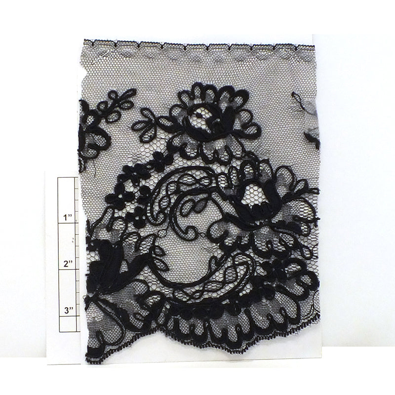 "Floral Embellished Lace 7"" (Per Yard) Black"