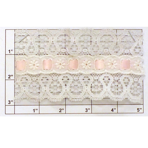 "Scalloped Eyelet & Ribbon Inset Lace 3"" (Per Yard) White/Pink"