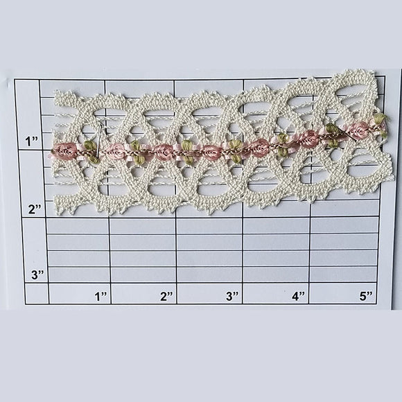 Lace w/ Floral Inset 1-3/4