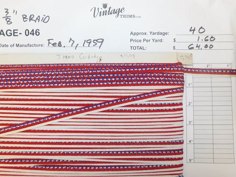"Card of 3/8"" Multi-Colored Braid (approx. 40 yards)"