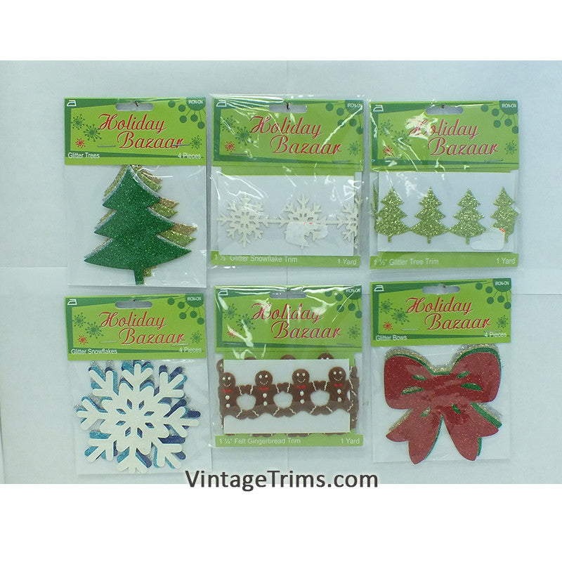 Holiday Iron-On Applique/Trim Assortment (Case of 24)
