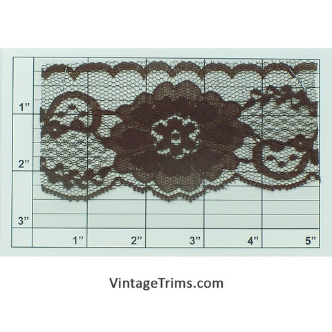 "Floral Flat Lace 2-1/2"" (Per Yard) Brown"