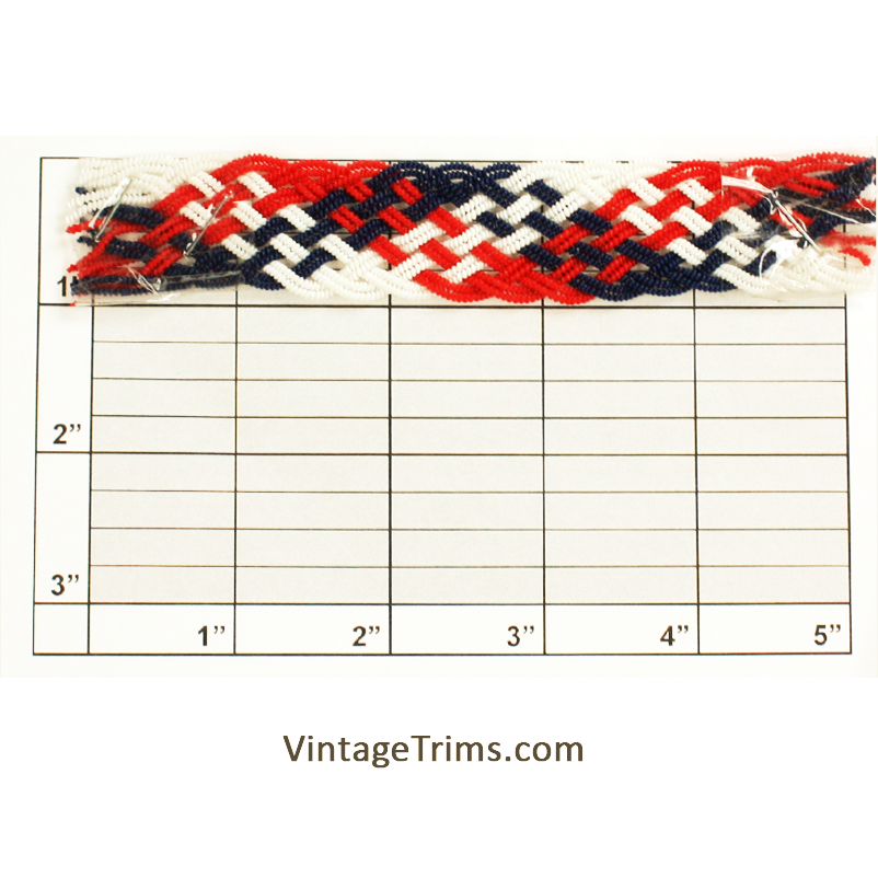 "Double Scalloped Edge Braid 1"" (Per Yard) Red/White/Blue"