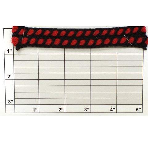 "Braid w/ Double Inset 3/4"" (Per Yard) Black/Red"