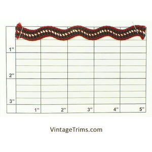 "Ric Rac Braid 9/16"" (Per Yard) Wine/Hunter/White/Metallic Copper"