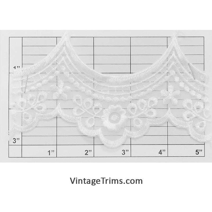 "Embroidered Shear Bridal Scalloped Lace 3-1/8"" <br>(Per Yard) White"