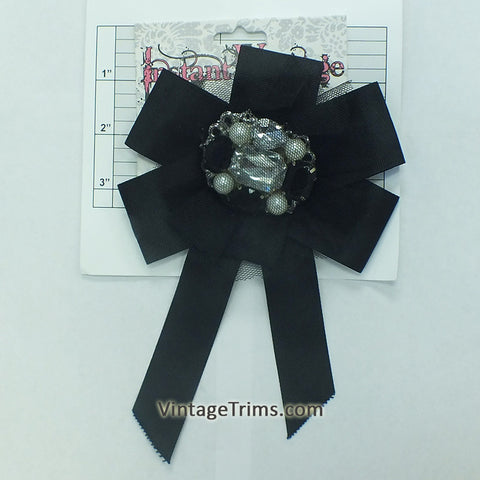 "Jeweled Bow Brooch 7-3/4"" (Black)"