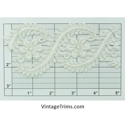"Floral Scroll Venice Lace 2-1/2"" (Per Yard) White"