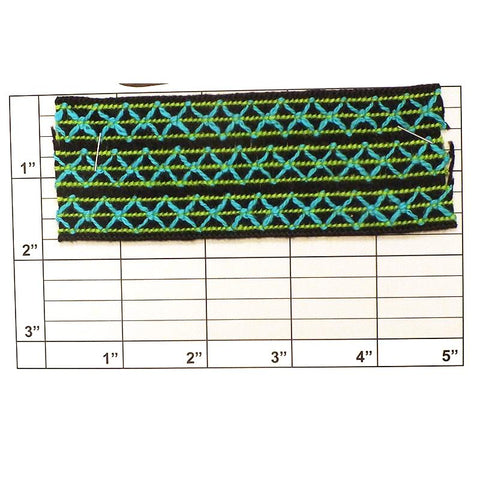 "X Braid 1-3/4"" (Per Yard) Black/Lime Green/Turquoise"