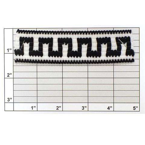 "Greek Key Jacquard 1-5/16"" (Per Yard) White/Black"