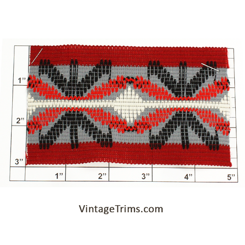 "Wide Woven Braid 3""<br>(Red/Black/Orange/Lt Gray/White)"