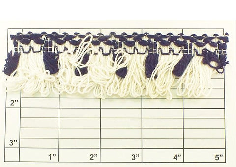 "Tassel Fringe w/Braid Top 1-5/8"" (Per Yard) White/Navy"