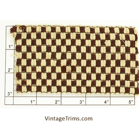 "Basketweave Woven Braid 2-15/16"" (Brown/Ivory)"