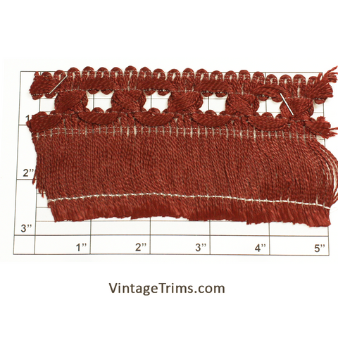 "Chainette Fringe w/Braid 2-3/4"" (Per Yard) Rust"