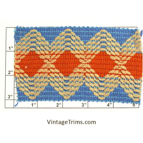 "Wide Woven Braid 3""<br>(Blue/Burnt Orange/Light Tan)"