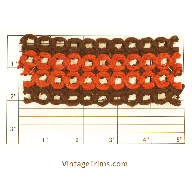 "Figure 8 Braid 2-1/8"" (Per Yard) Brown/Rust"