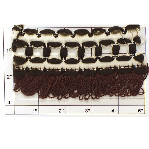 "Loop Fringe w/ Figure 8 Braid Top 2-3/4"" (Per Yard) Browns/White"