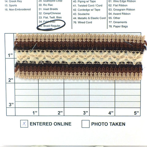 "Braid w/ Mini X's 1-7/8"" (Per Yard) Beige/Brown/Black/Natural"