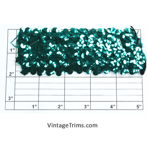 "Stretch Sequin Trim 2"" (Per Yard) Teal"