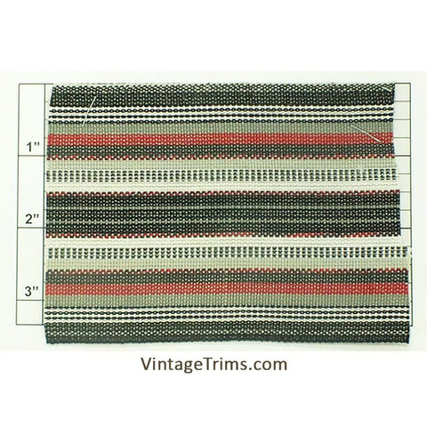 "Wide Woven Braid 3-5/8"" (Per Yard) Black/White/Gray/Red"