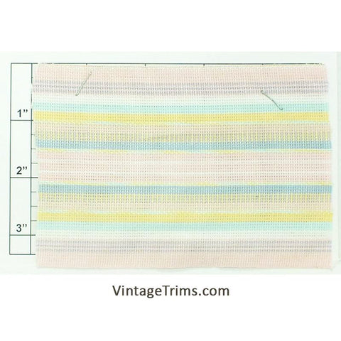 "Wide Woven Braid 3-5/8"" (Per Yard) Pink/Seafoam/Yellow/White/Baby Blue"