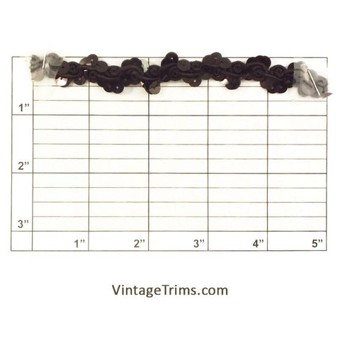 "Sequin Scroll Braid 5/8"" (Per Yard) Black/Black"
