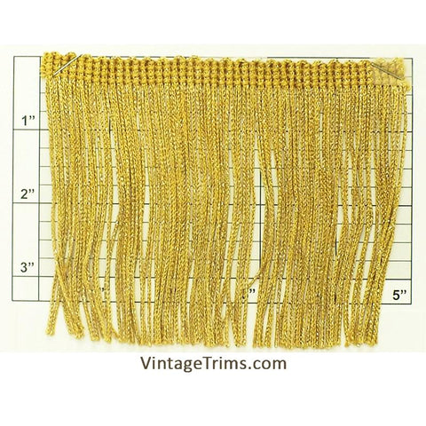 "Chainette Fringe 4"" (Per Yard) Metallic Gold"