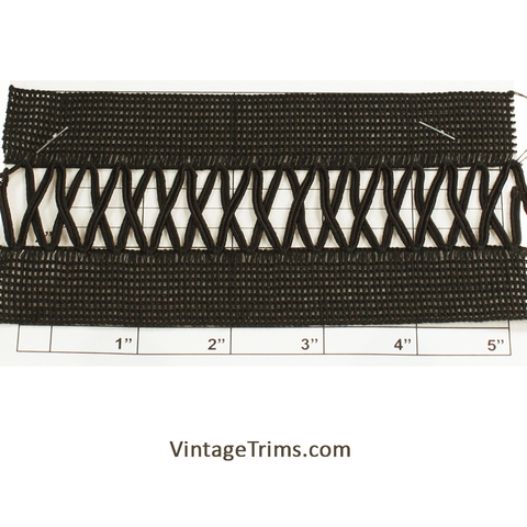 "Braid w/X Inset 3"" (Per Yard) Black"