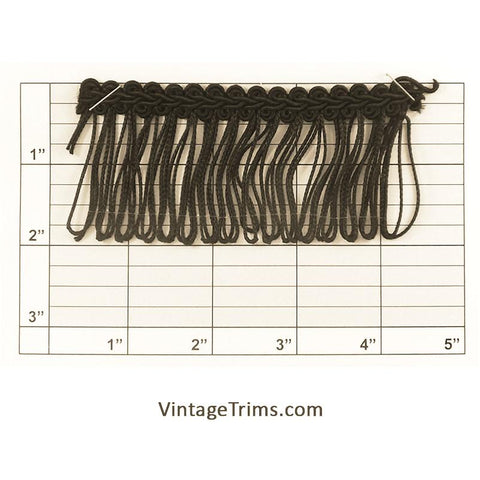 "Chainette Loop Fringe w/ Gimp Braid 2"" (Per Yard) Black"