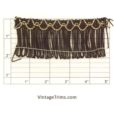 "Chainette Fringe 2"" (Per Yard) Black/Metallic Gold"