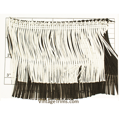 "Double Chainette Fringe 4"" (Per Yard) Black/White"