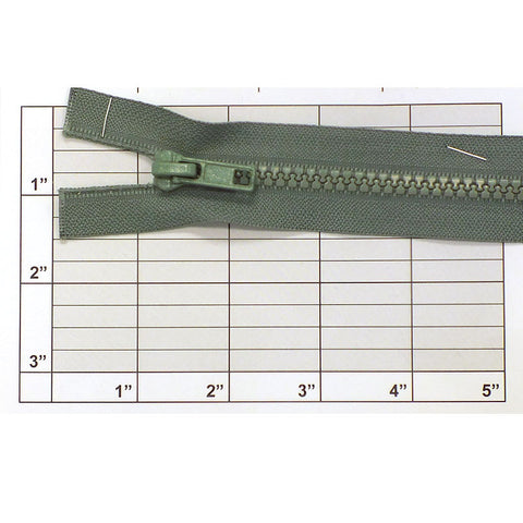 "Separating Nylon Zipper 19"" (Khaki Green)"