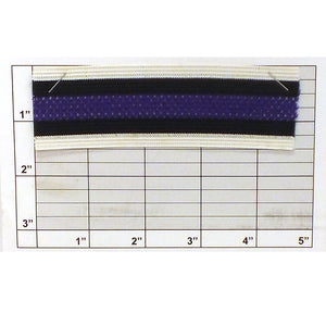 "Striped Mesh Center Elastic Knit Braid 1-1/2"" (Per Yard) White/Black/Purple"