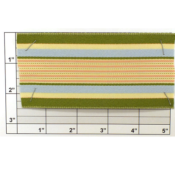 Waverly Stripe Wire Edge Ribbon 2-1/2