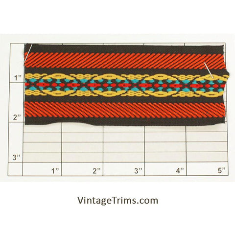 "Non-Embroidered<br>Jacquard 2"" (Per Yard)<br>(Black/Orange/Yellow/<br>Turquoise/Red)"