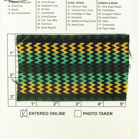 "Triangle Zig Zag Jacquard 3"" (Per Yard) Green/Gold/Mint on Black"