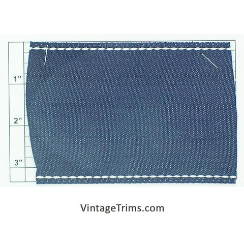 "Wide Woven Braid 3-3/8"" (Per Yard) Denim"