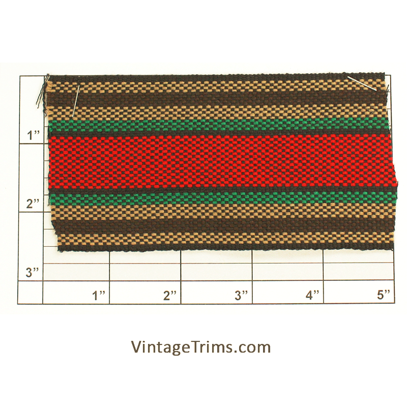 "Wide Woven Braid 2-1/2"" (Per Yard)<br>Brown/Green/Red/Black/Tan"