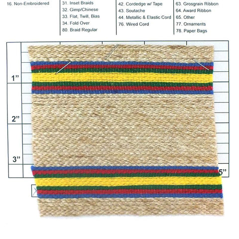 "Wide Woven Braid 4-1/4"" (Per Yard) Multi-Colored"