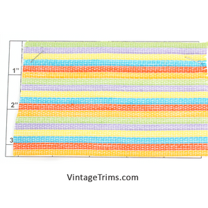 "Multi-Color Woven Braid 3"" (Per Yard)<br>White/Green/Purple/Yellow/<br>Turquoise/Orange-Red/Neon Orange"