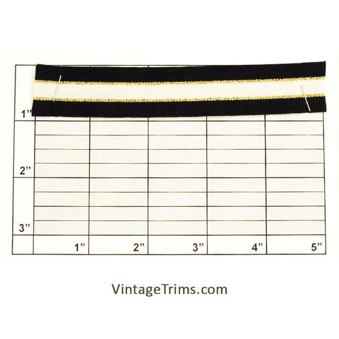 "Flat Braid 7/8"" (Black/White/Metallic Gold)"