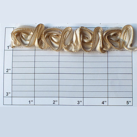 "Continuous Rose 1-1/8"" (10 Foot Roll) Ivory/Gold"