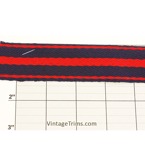 "Stripes Flat Braid Fabric Trim 1-3/8"" (Per Yard) Navy/Red"